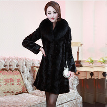 2017 new Winter Luxury New Spliced Mink Coat Women lengthy Fox Fur Collar Parka Loose Plus Size Ladies Warm Outerwear S-4XL