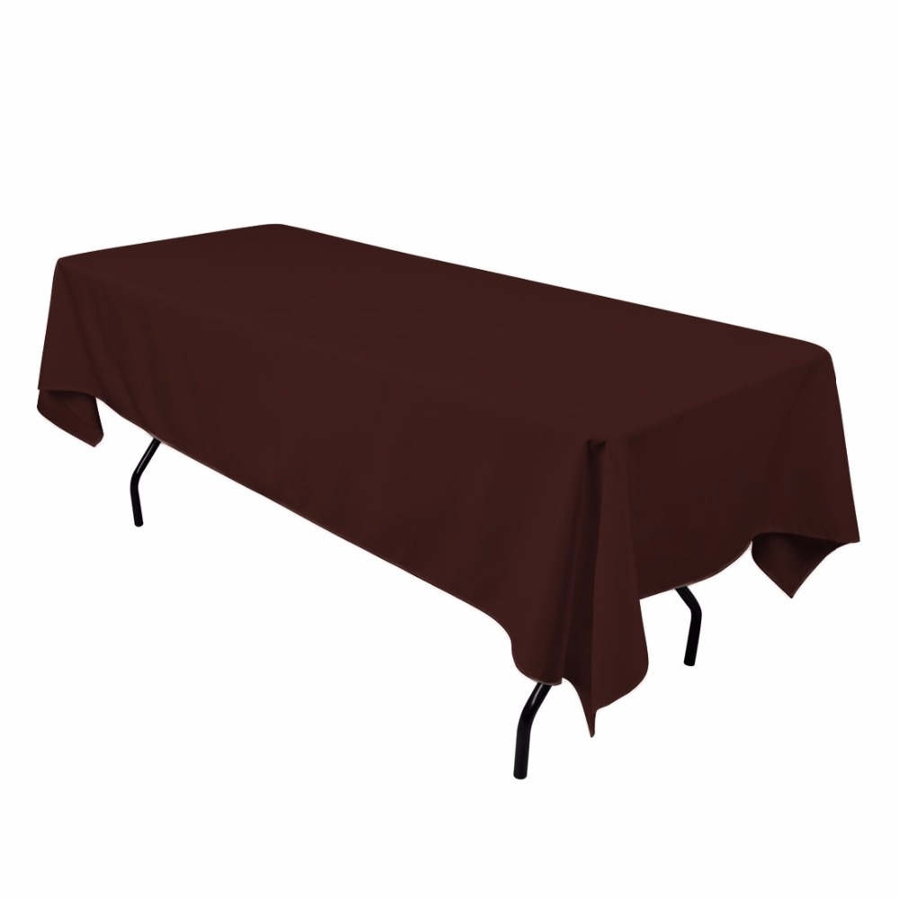 HK DHL Stain Feel 152*260cm Polyester Rectangle Tablecloth White for Wedding, 5/Pack