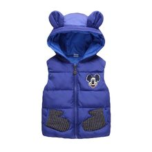 Купить с кэшбэком New 2018 cotton vest kids for girls boys autumn winter outwear sleeveless jacket children high quality cartoon Mickey style top