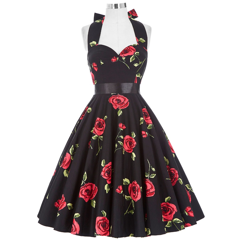 Buy Cheap Summer Dresses Women Floral Print Sleeveless Short Casual Cotton Sexy 50s Vintage Dress Vestidos Pinup Rockabilly Dress Hepburn