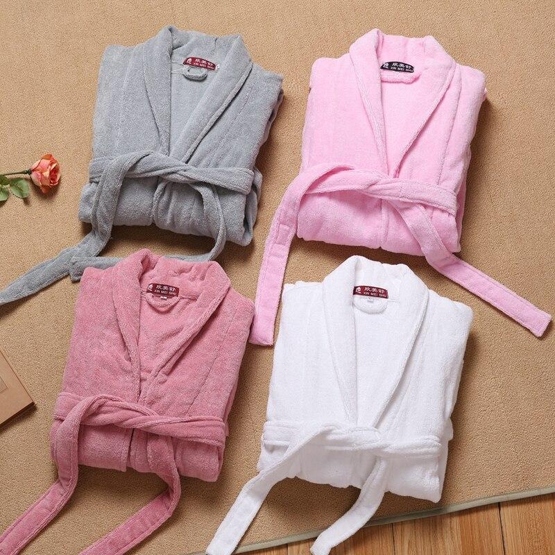 100% Cotton Bathrobe Women Thick Towel Fleece Bathrobe Winter Autumn Terry Pajamas Nightgown Sleepwear long Home Nightwear