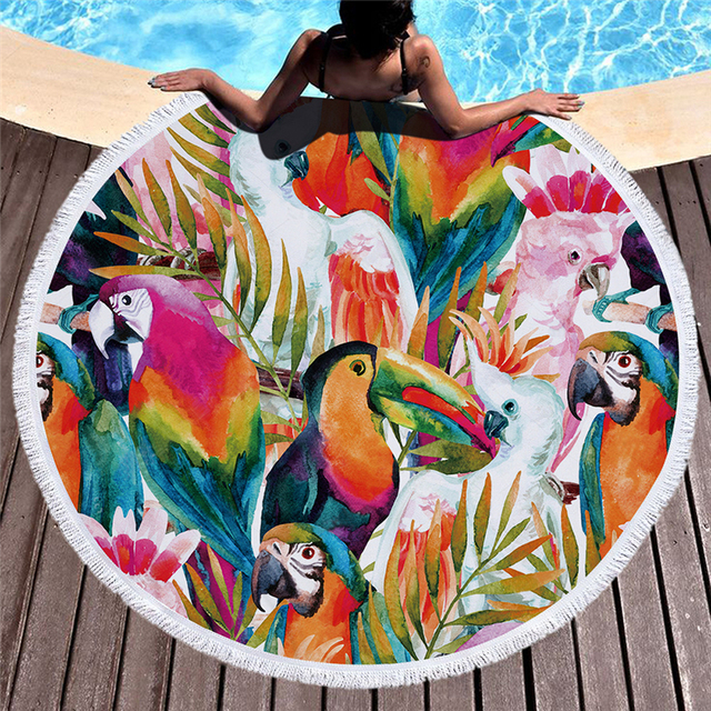 Tropical Plants Microfiber 3D Print Beach Towel for Adult Yoga Mat Tassel Blanket Large Round Towel 150cm Tapestry Home Decor