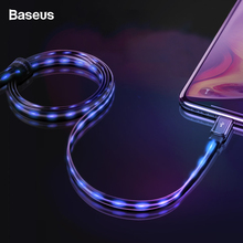 Baseus Flat Flowing LED Glow USB Cable For iPhone X S Max 8 7 6 2.4A Data Sync Cable Fast Charging Charger Wire Cord For iPhone