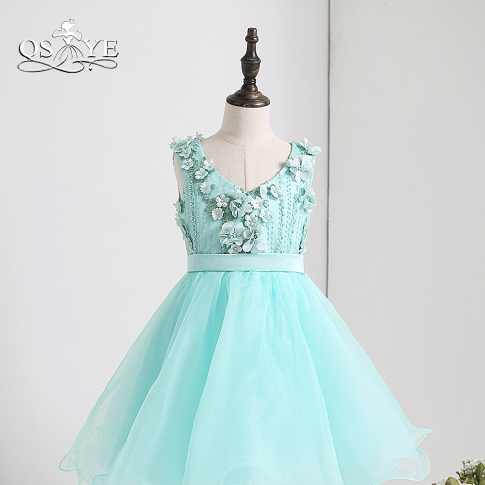 Qsyye 2018 Tiffany Blue Cute Flower Girl Dresses 3d Floral Flowers V