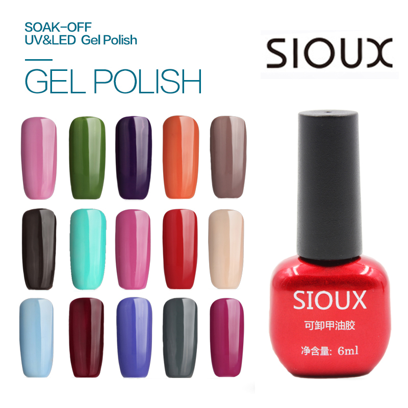 49-72 SIOUX 6ml UV Gel Nail Polish LED Lampa Långvarig Soak Off Billig Gelpolish Vernis Topplackat Lim 108 Färg SI05