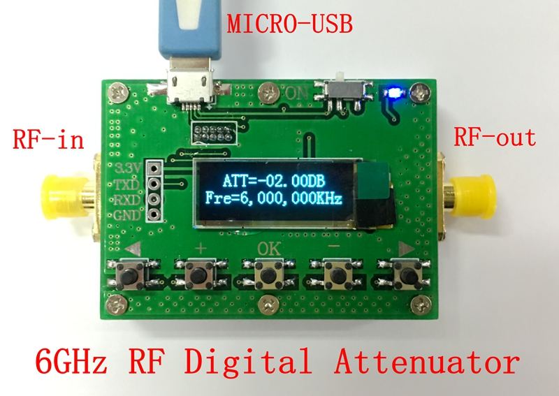 6G digital programmable attenuator 30DB stepper 0.25DB OLED display CNC shell RF module