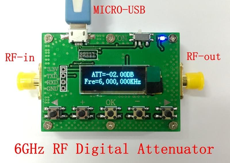 6G Digital Programmable Attenuator 30DB Stepper 0.25DB OLED Display CNC Shell RF Module