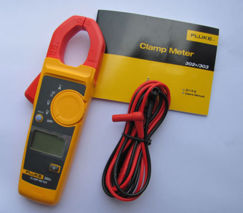 Fast arrival FLUKE 302+ Clamp Meter AC/DC Handheld Multimeter fluke f302 1 6 lcd ac clamp meter yellow red 3 x aaa