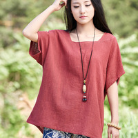 2015 Summer Style Women Blouses White Red Loose Linen Shirt Brand Casual Plus Size Clothing Blusas