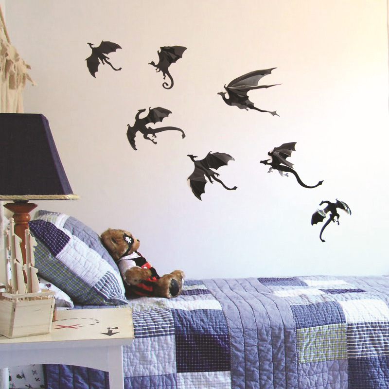 2sets cute 3d halloween decoration pvc black flying dinosaurs dragon wall stickers home decor props supplies