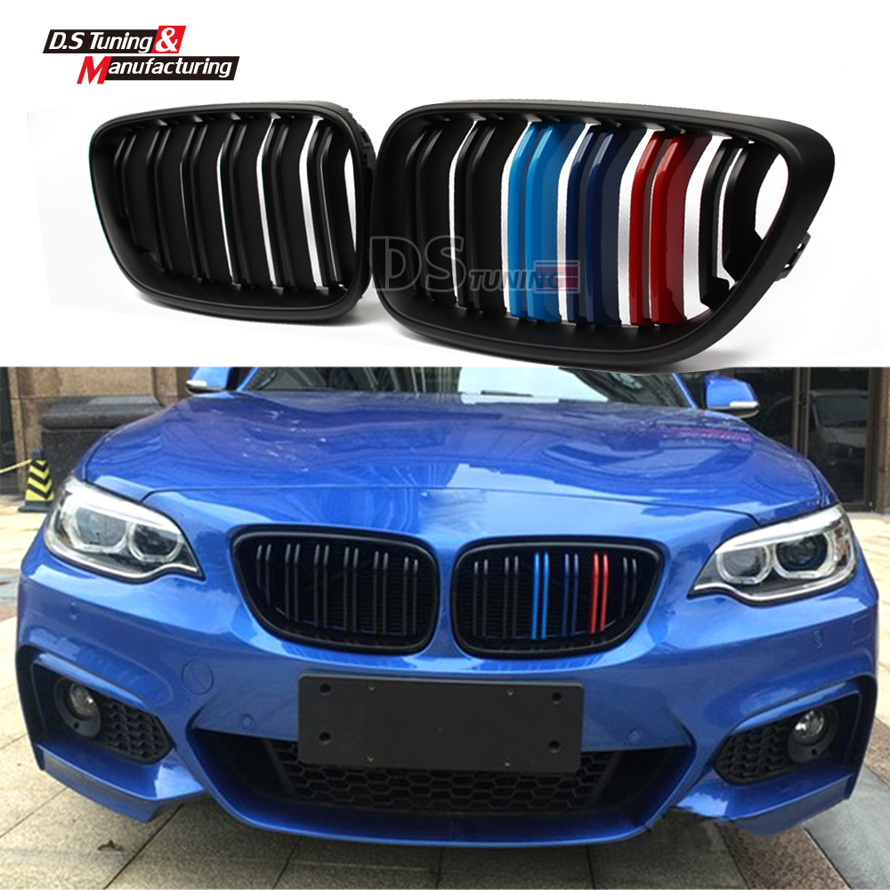 F22 M2 Look Grille Replacement Front Bumper Grill Racing Grills For BMW 2 Series F22 M235i 218i 220i 2014 2015 M Colour