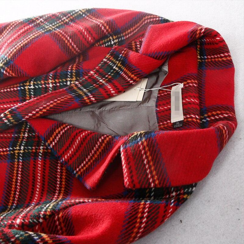 Manches Plein Red Longues Mode Casual Nouveau Et Mélanges 3xl Plaid 2018 Hiver Collar Turn Samgpilee Laine down L Unique Poitrine Mince Femmes xtwIXOq1f