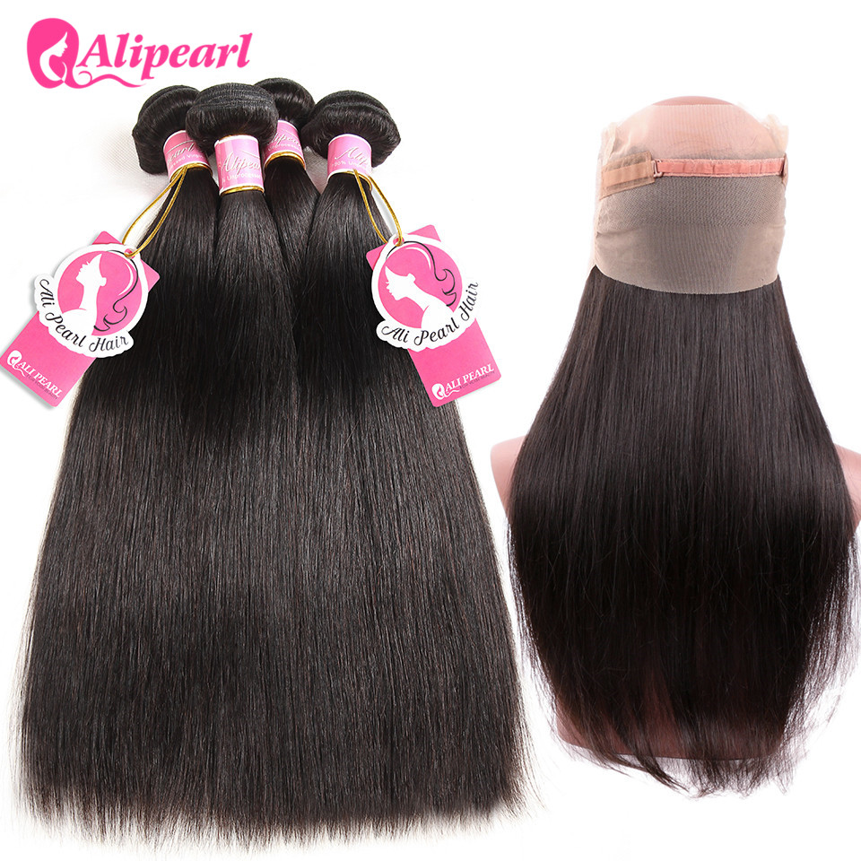 Alipearl Hair 360 Lace Frontal With Bundles Pre Plucked With Baby Hair Brazilian Hair Weave Straight Remy Hair With 360 Frontal High Quality And Inexpensive 3/4 Bundles With Closure