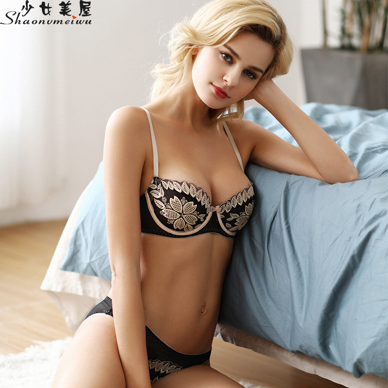 Europe And The United States Ultra-thin Sexy Bra Set Mesh Embroidery Underwear Women See-through Transparent Temptation Bra