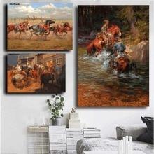 Канди Томас лошадь индийская езда лошадь война Ковбой Западный масло холст картина плакат настенное искусство HD Картина гостиная домашний декор