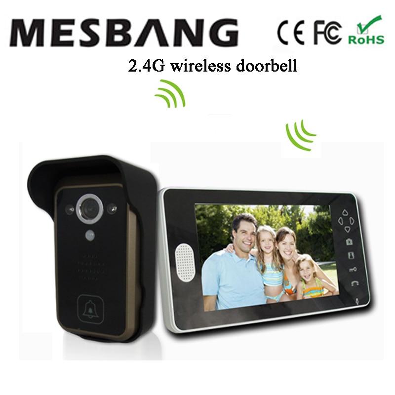 Hot 2017  New 2.4G Wireless Video Door Intercom Wireless Video Doorbell Intercom  With 7 Inch Monitor No Need Cable To Install