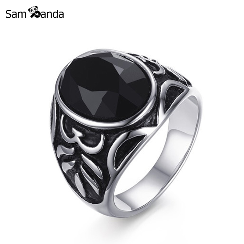Ring For Men Stainless Steel Black Natural Stone Finger Men's Ring Vintage Turkish Punk Jewelry In Silver-color Anel Masculino