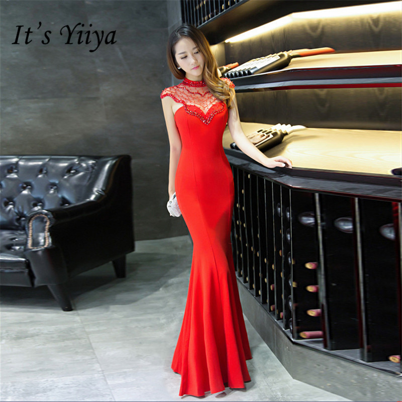 It's Yiiya Mermaid   evening     dress   Sexy Floor-length formal Halter Party Gowns Red white sleeveless Zipper back Prom   dresses   C072