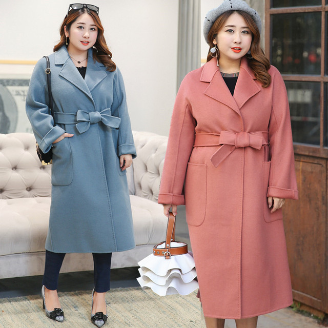 5e5ca11c154 Plus Size Casual Women Woolen Coat 2018 Autumn Winter Fashion Korean Extra  Large Belt Elegant Jackets Wool Coat Female Outerwear