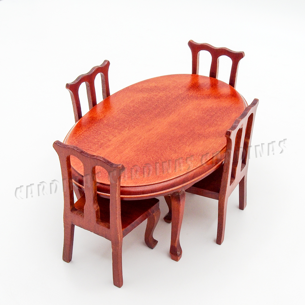 1 12 Miniature Winered Dining Table and font b Chairs b font Set 5PCS font b