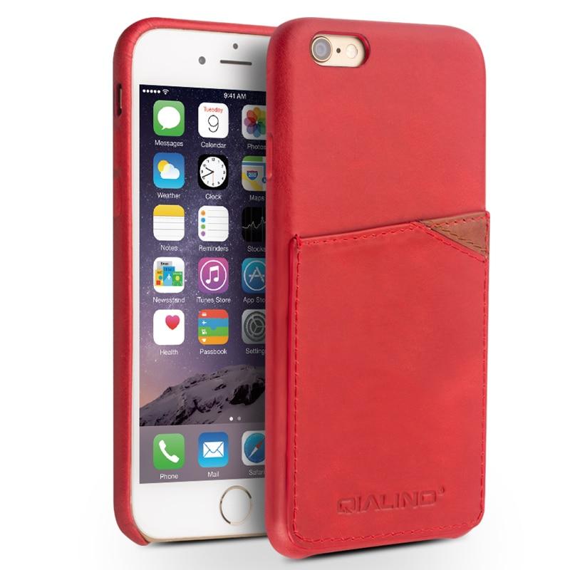 QIALINO äkta läderfodral för iPhone 6 & 6s Fashion Insert Card - Reservdelar och tillbehör för mobiltelefoner - Foto 4