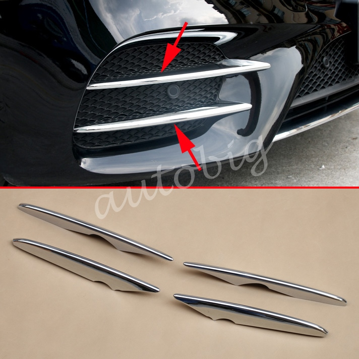 Chrome Grill Strips For Mercedes Benz GLC X253 C253 Wagon Coupe Front Grille Fog Light Lamp