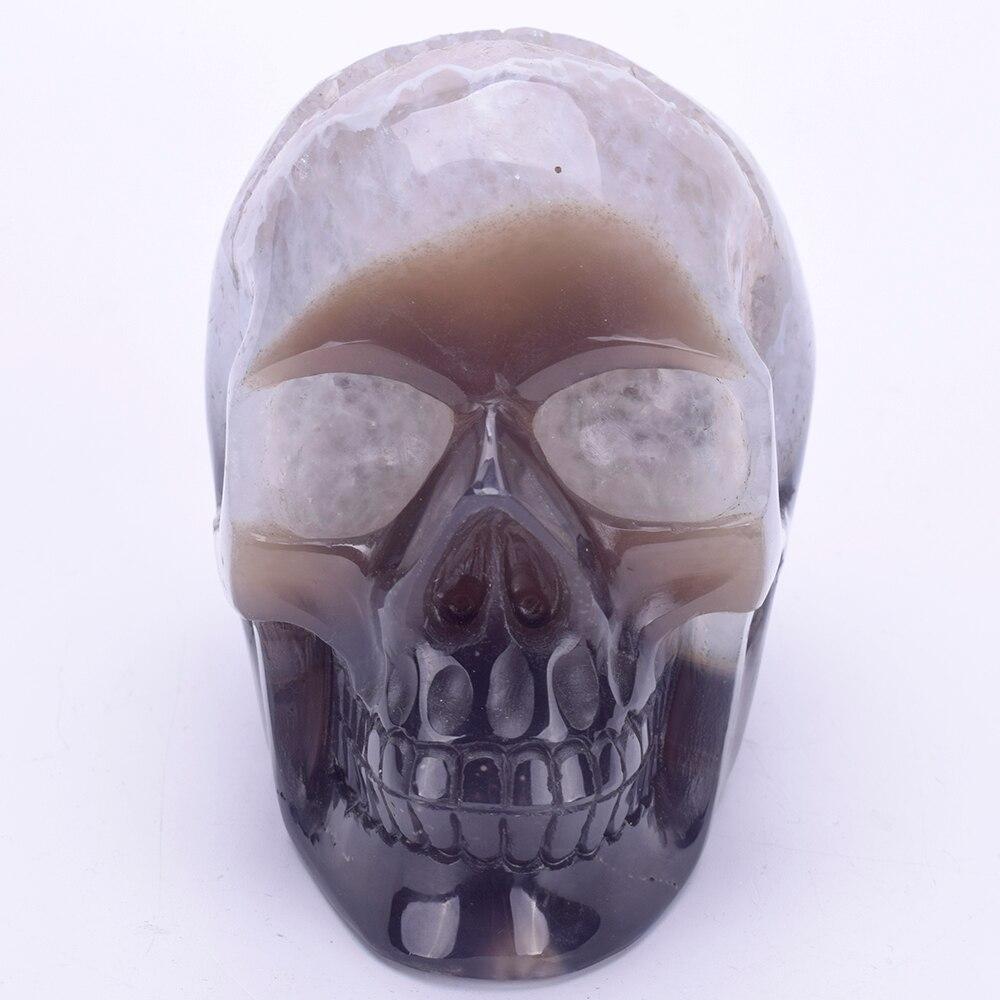 4,6 натуральный агат Geode резное Исцеление Кристалл скульптура черепа Реалистичная энергии кварцевый хрустальный череп статуя ремесло, деко