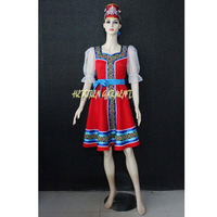 High Quality Customized Women Russian National Costumes Russian Dancing Dress With Headwear For Adult Or Kids