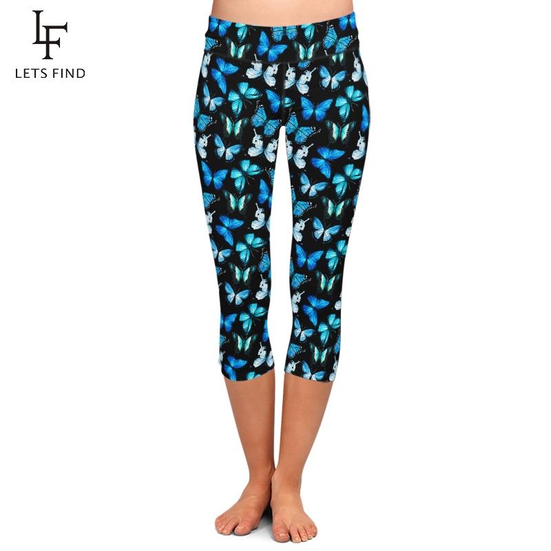 LETSFIND Summer Fashion 3D Butterfly Design Digital Printing High Waist Women Capri Leggings Plus Size Workout Leggings