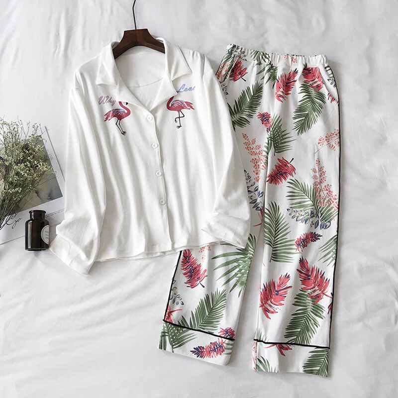 ebe749d96f PKSAQ 2018 Cute Sleepwear Women Flamingo Print long Sleeve Turn-down Collar  Pants