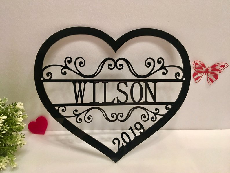 Personalized Love Heart Wedding Decoration Custom Romantic Wedding Party Favor Wooden Acrylic Wedding Door Hanger Party Supplies