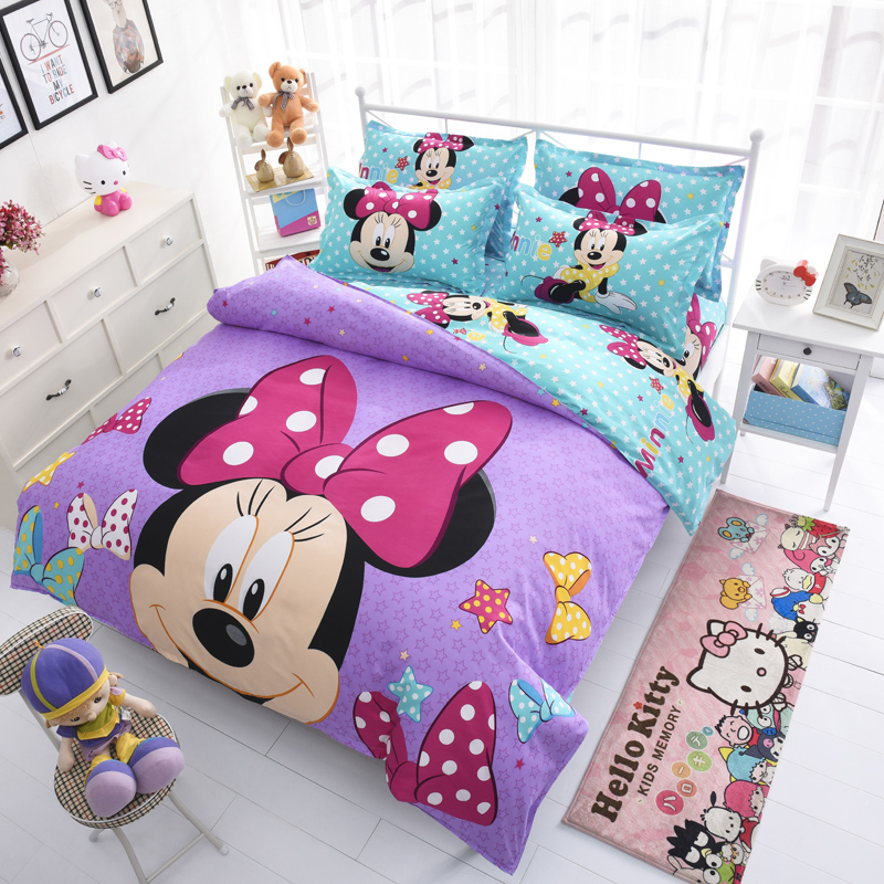 Disney Mickey Mouse Minnie Mouse Winnie Duvet Cover Set 3 or 4 Pieces Twin Single Size Bedding Set for Children Bedroom Decor