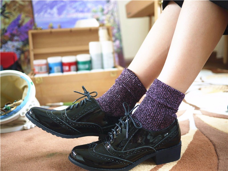 1pair Hot Sale 2017 Shiny Long Socks Autumn and Spring New Fashion Glitter silver Flanging Wild In Tube Socks