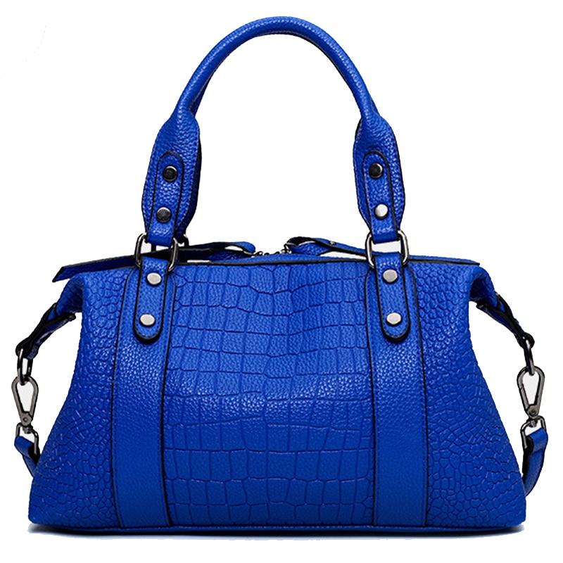 ФОТО New Original Brand Designer Alligator Leather Women's Bag Handbag Women Messenger ladies hand Bags Tote bolsos mujer Blue FR220