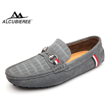 ALCUBIEREE Mens Genuine Leather Moccasins Stylish Buckle Loafers Men Comfort Driving Shoes Male Slip-on Flats Gommino Boat Shoes