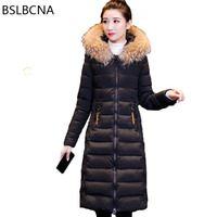 Embroidery Casual Long Coat Female Big Hair Collar Plus Size Parka Winter Jacket Women 2018 Ukraine Cotton Padded Clothes A501