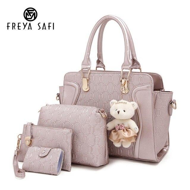 5da045f59afb Freya Safi 4 PCS/Set Brand Composite Bags Women Vintage Shoulder Patchwork Crossbody  Messenger Bag With Bear Doll PU Leather Bag