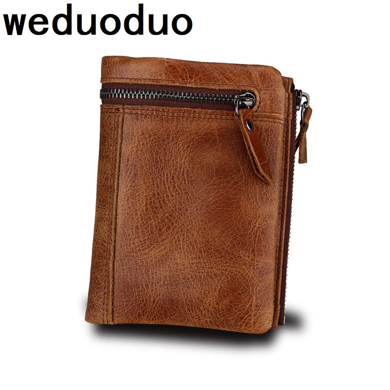 Hot Sell Vintage Genuine Leather Men Wallets Luxury Short Purse Coin Pocket RFID Design Safe Money Bags Credit Card Holders in Wallets from Luggage Bags