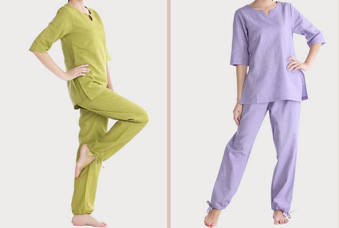 5 colori estate   spring di alta qualità del cotone e lino donne yoga  vestiti di meditazione laici che coprono gli insiemi uniformi tai chi  verde rosa in 5 ... f92d183d1ee