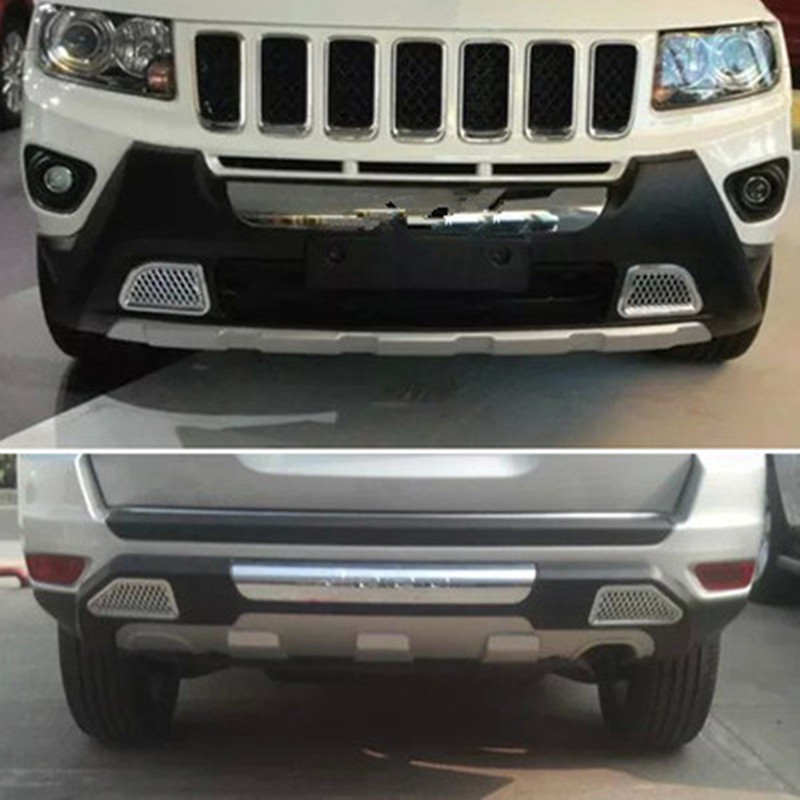 2pcs/SET ABS plastic Chrome Front & rear Bumpers Skid Protector Molding fit For Jeep Compass 2011 to 2014 Car modeling abs chrome rear headlight lamp cover for 2011 2013 jeep compass