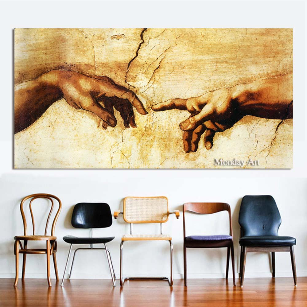 Decorative Canvas Oil-Painting Wall-Pictures Creation Michelangelo Living-Room Adam Handmade
