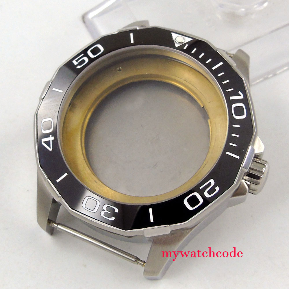 45mm black ceramic bezel sapphire cystal Watch Case fit ETA 2824 2836 MOVEMENT цена и фото
