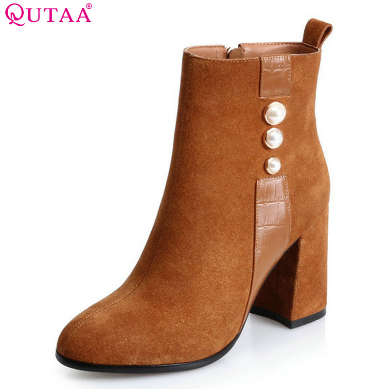 QUTAA 2018 Fashion Women Round Toe Ankle Boots Spring and Autumn Square High Heel High Quality Cow Suede Women Boots Size  34-39 esveva 2016 sequined platform women boots autumn fashion boots wedges high heel leisure round toe ladies ankle boot size 34 39