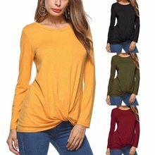 Spring Asia Europe and America New Hot Solid Casual Temperament Irregular Long-sleeved Womens T-shirt