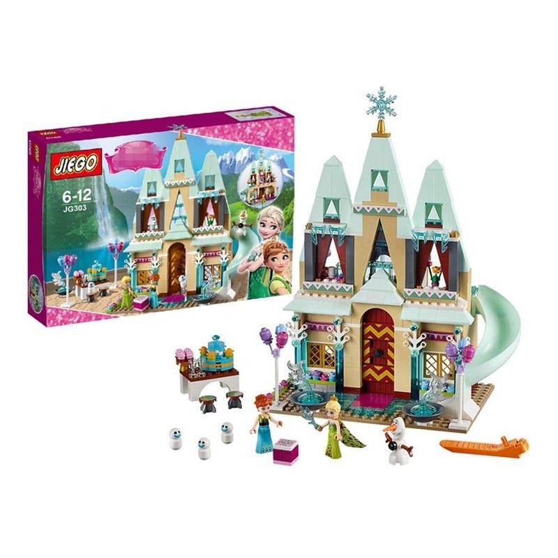 Jg303 font b elsa b font anna arrival arendelle font b castle b font celebration model