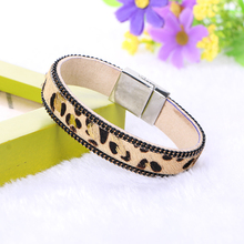 New Fashion Leopard PU Leather Magnetic Clasp Crystal Wrap Cuff Bracelets