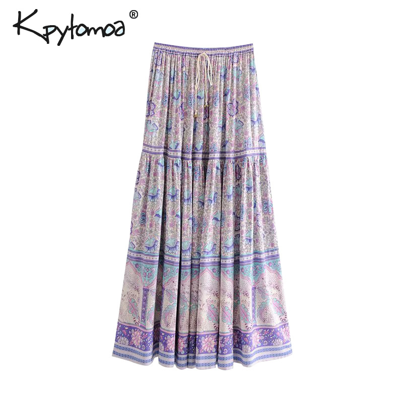 Boho Vintage Chic Floral Print Long Skirt Women 2019 Fashion Elastic Waist Lace Up Pleated Summer Beach Skirts Casual Saia Mujer