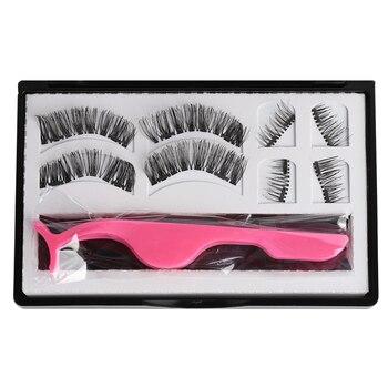 8 Pcs/Set Dual Magnetic False Eyelashes Thick Cross Long Magnets Eye Lashes Glue-free with Tweezer Makeup Extension Tools Kit False Eyelashes