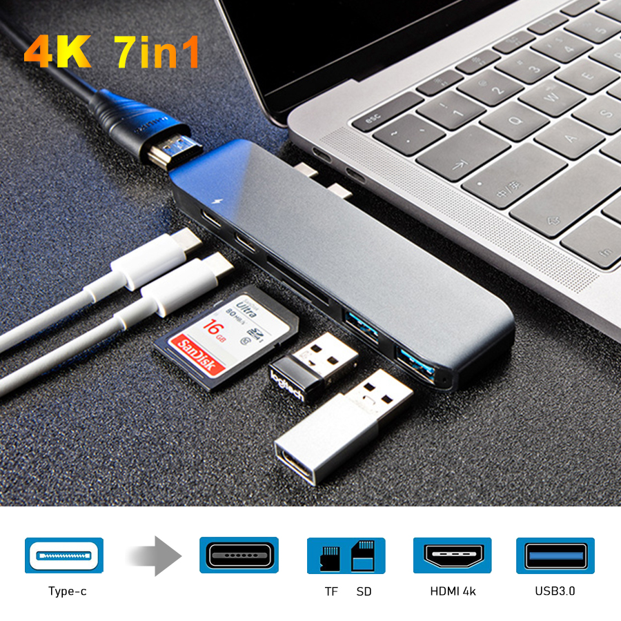 7 in 1 Dual Type-C Port USB C Hub To HDMI Multiport Adapter 4K Thunderbolt 3 With TF SD Slot PD for MacBook Pro 2018 USB Hub 3.0