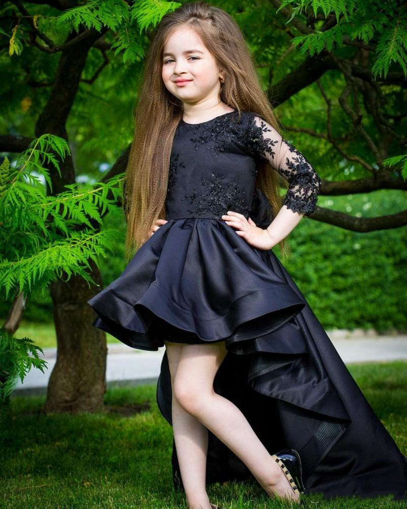 High Quality Black Satin Little Princess   Dress   3/4 Long Sleeves High Low   Flower     Girl     Dress   with Lace Appliques Kids Pageant Gown